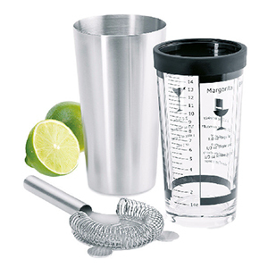 Shaker set with strainer and limes photo