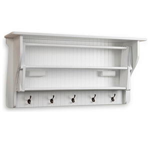 White mounted drying rack with metal hooks photo