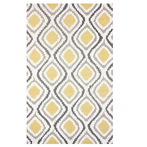 Yellow and gray ikat patterned rug photo