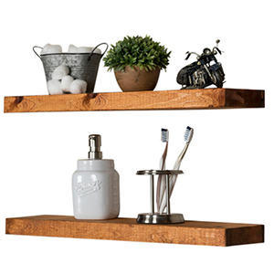 Floating wooden shelves with items on top photo