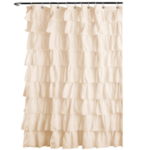 Ivory-colored shower curtain with tiered ruffles photo