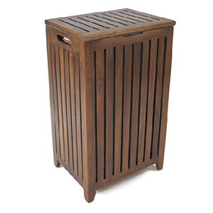 Dark wood laundry hamper with vertical slats photo