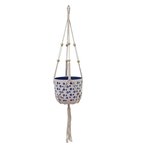 Hanging planter with white and blue flower pot photo