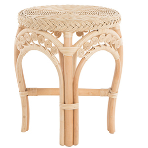 Light brown rattan stool with intricate details photo