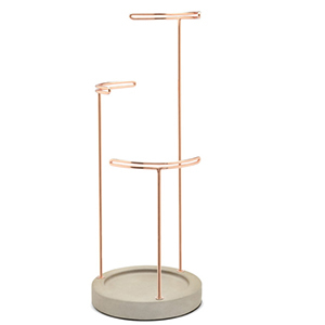 Jewelry stand with copper stands and hooks photo