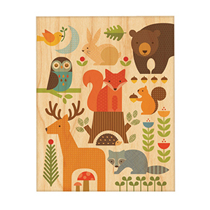 Multicolored poster of forest animals photo