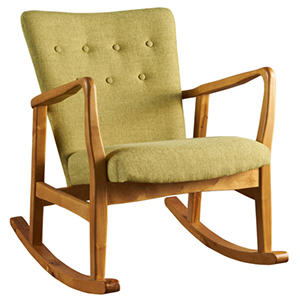 Pea green colored rocking chair with wooden legs photo