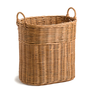 Light brown wicker tote basket with handles photo