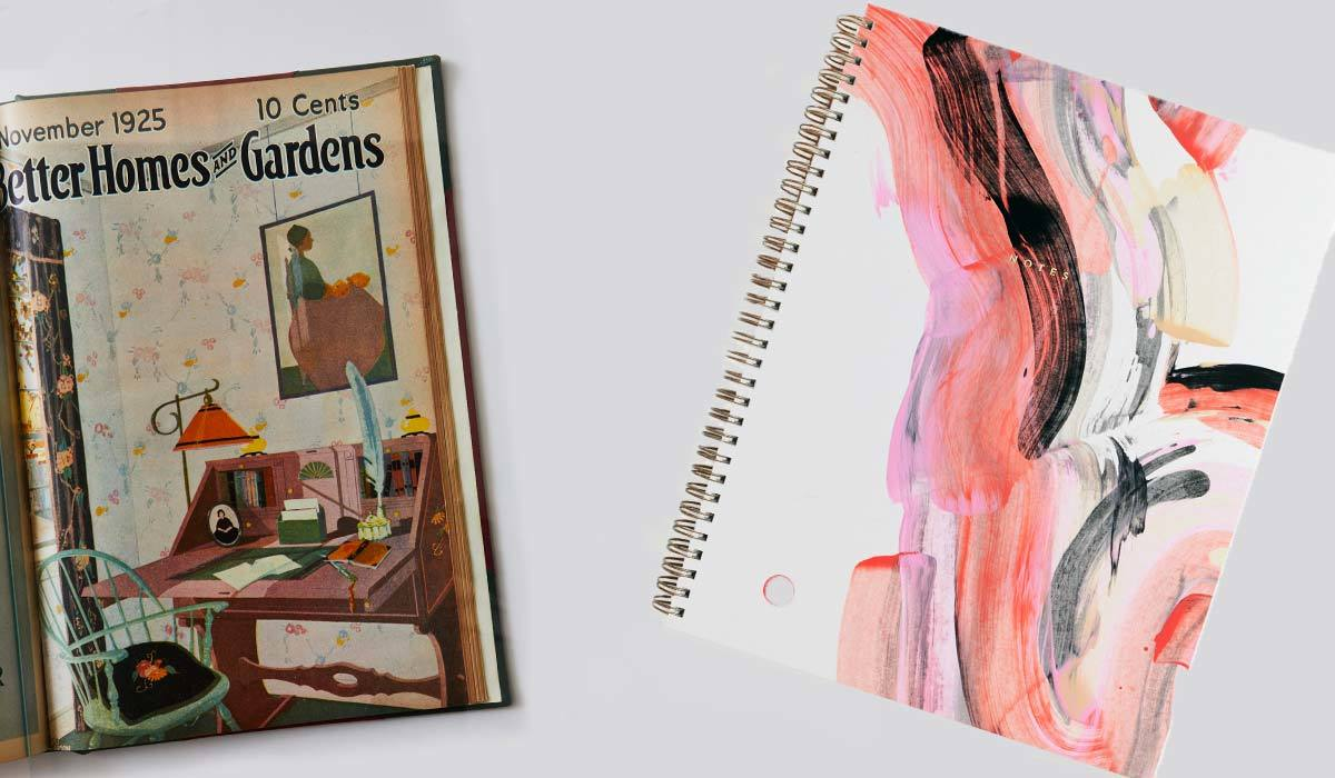 Notebook next to a vintage Better Homes & Gardens magazine photo