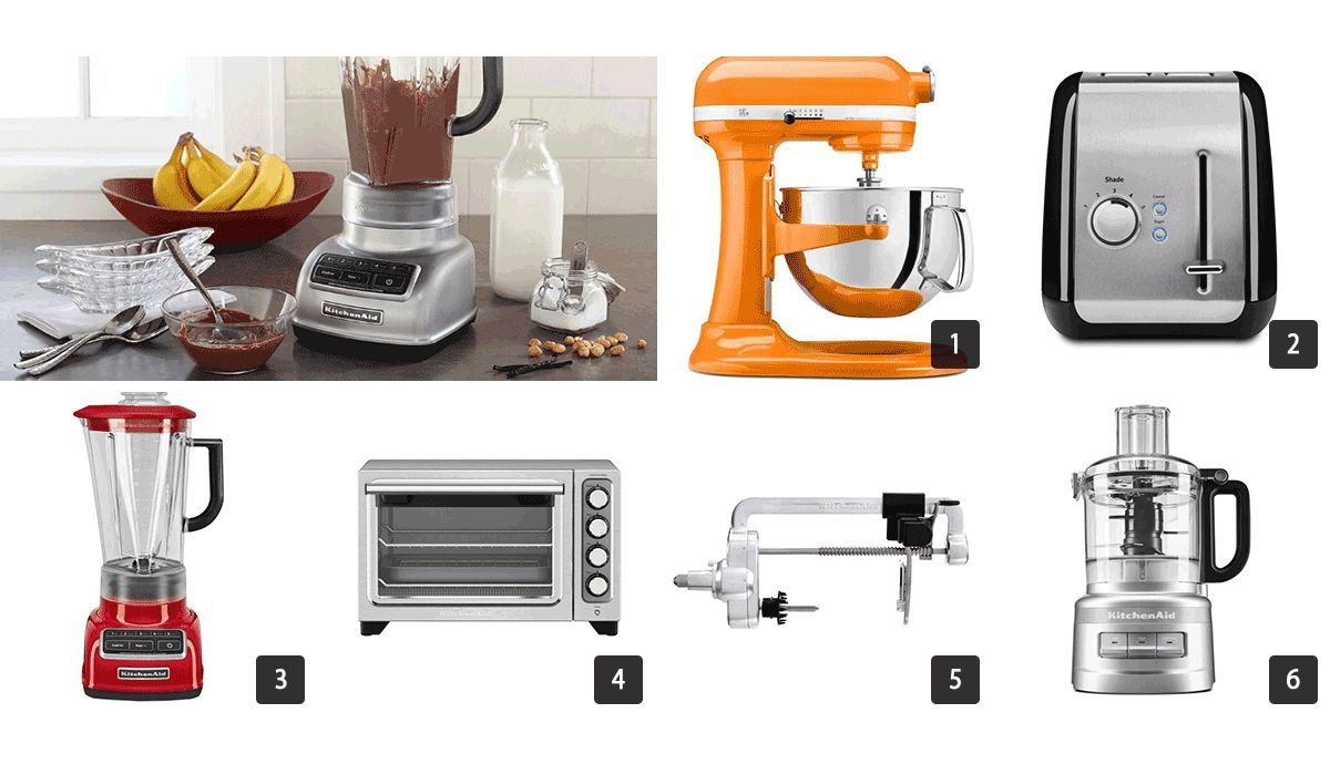 Images of a mixer, toaster, blender, and more small kitchen appliances photo