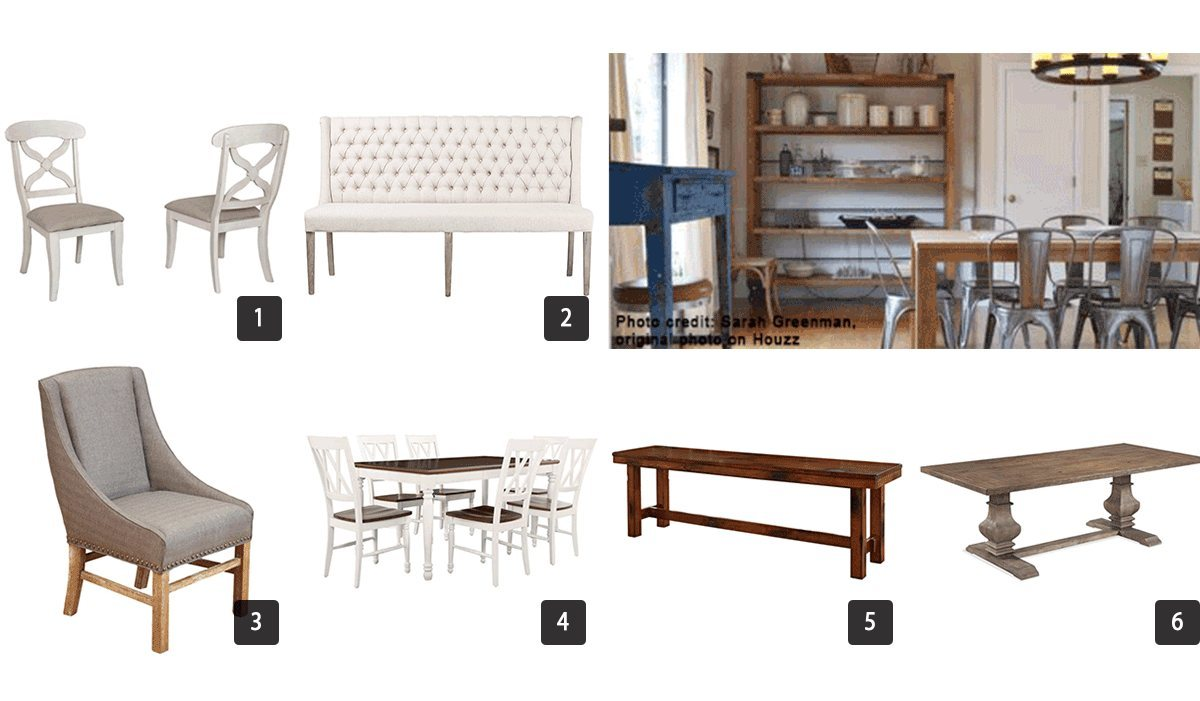 Photos of dining room furniture including tables and chairs photo