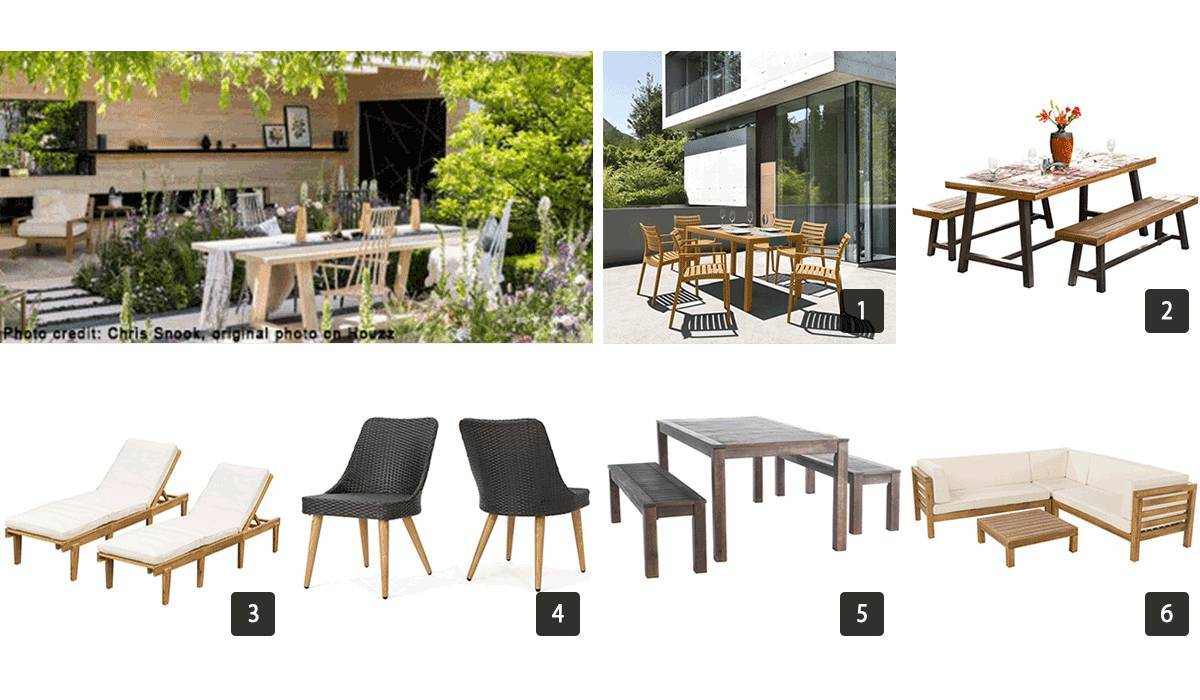 Images of outdoor furniture like picnic tables and chairs photo