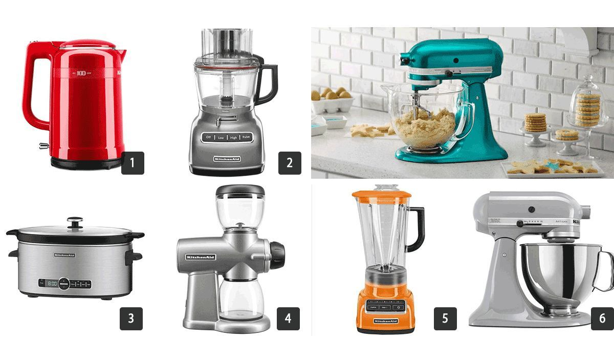 Images of small KitchenAid appliances including a blender, mixer, and slow cooker photo