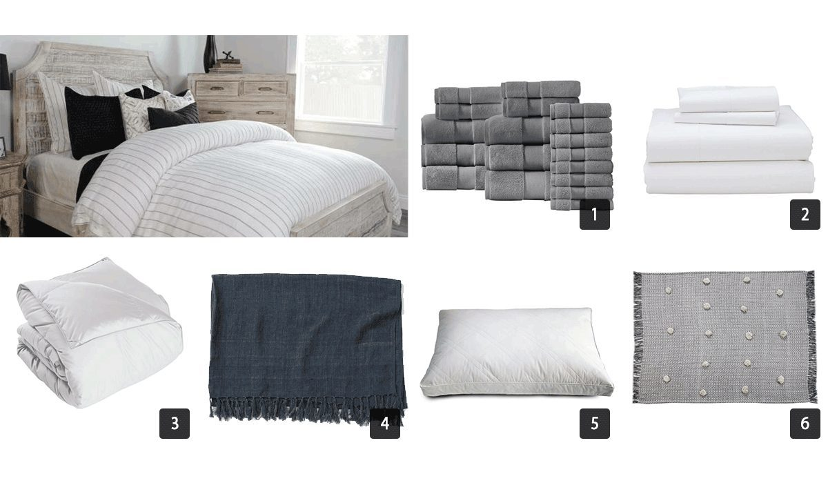 Images of textiles including bedding, blankets, towels, pillows photo