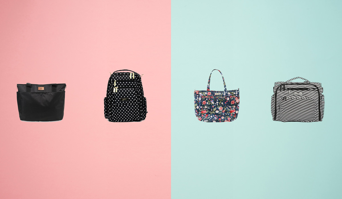 Four JuJuBe diaper bags from Walmart on a pink and blue background photo