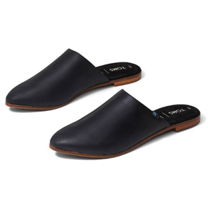 Black leather mules by TOMS photo