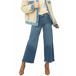 A woman wears medium blue flared jeans with booties photo