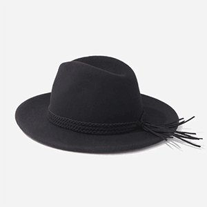 Black hat with black braided detail photo