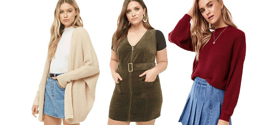 Three women wear fall outfits including a sweater, cardigan, and dress from Forever 21