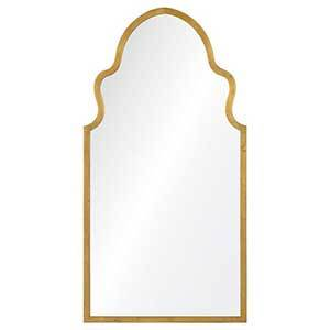 Gold wall mirror with a curved top from Houzz photo