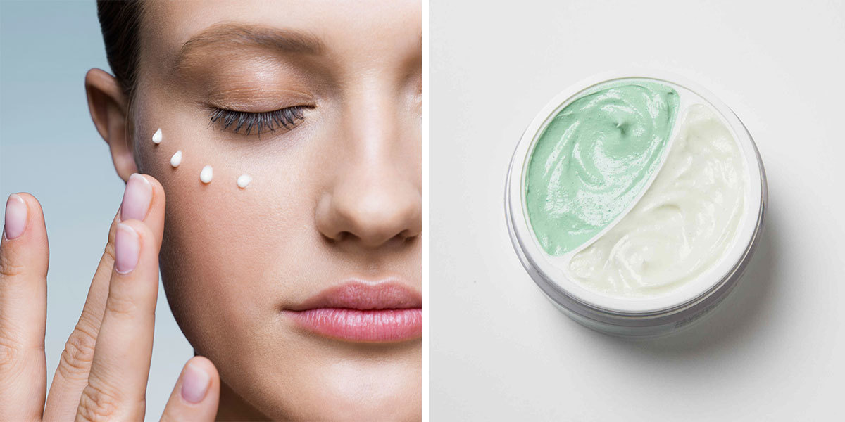 Collage of a woman putting moisturizer on her face and a moisturizer product shot photo