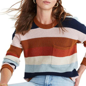Colorful striped sweater with a front pocket photo
