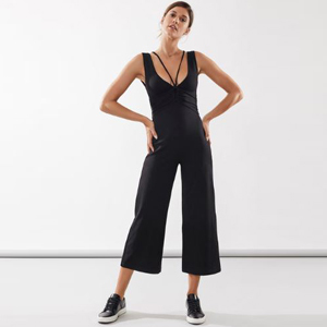 Black cropped jumpsuit with a cinched waist photo