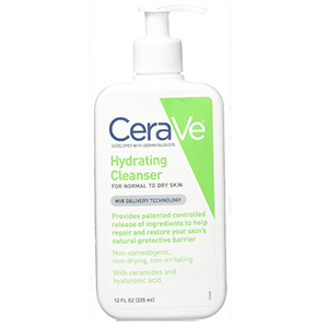 White and green bottle of CeraVe Hydrating Cleanser photo