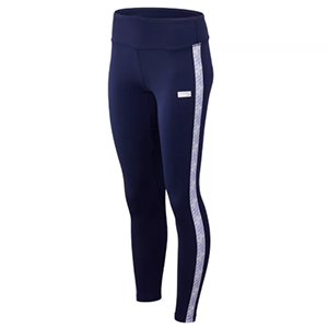 Navy blue leggings with purple stripe down the side photo