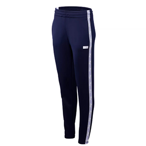 Navy blue track pants with purple stripe down the side photo