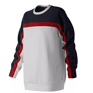 White sweatshirt with red and navy blue stripes down the arms photo