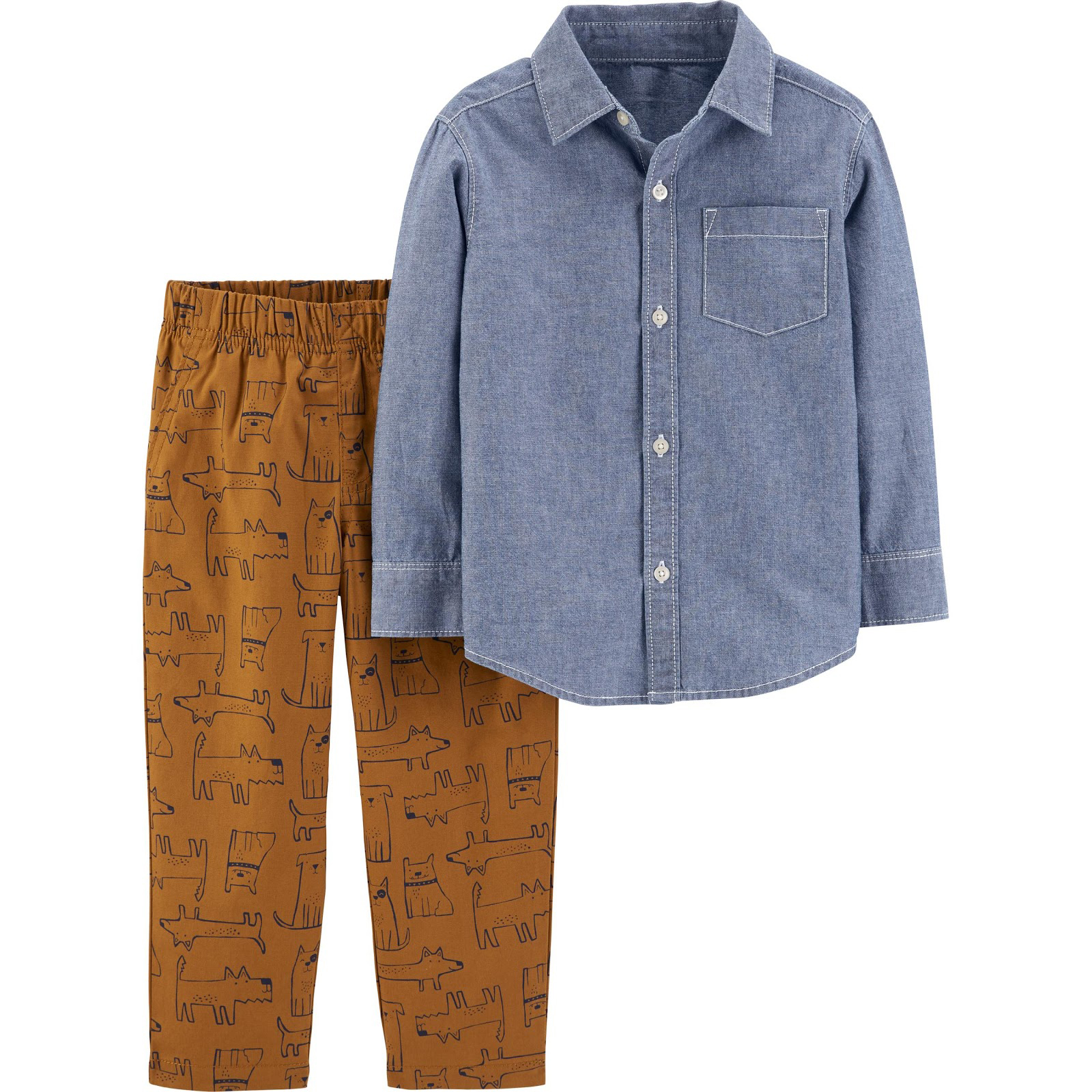 2-Piece Chambray Button-Front Top & Dog Pant Set photo
