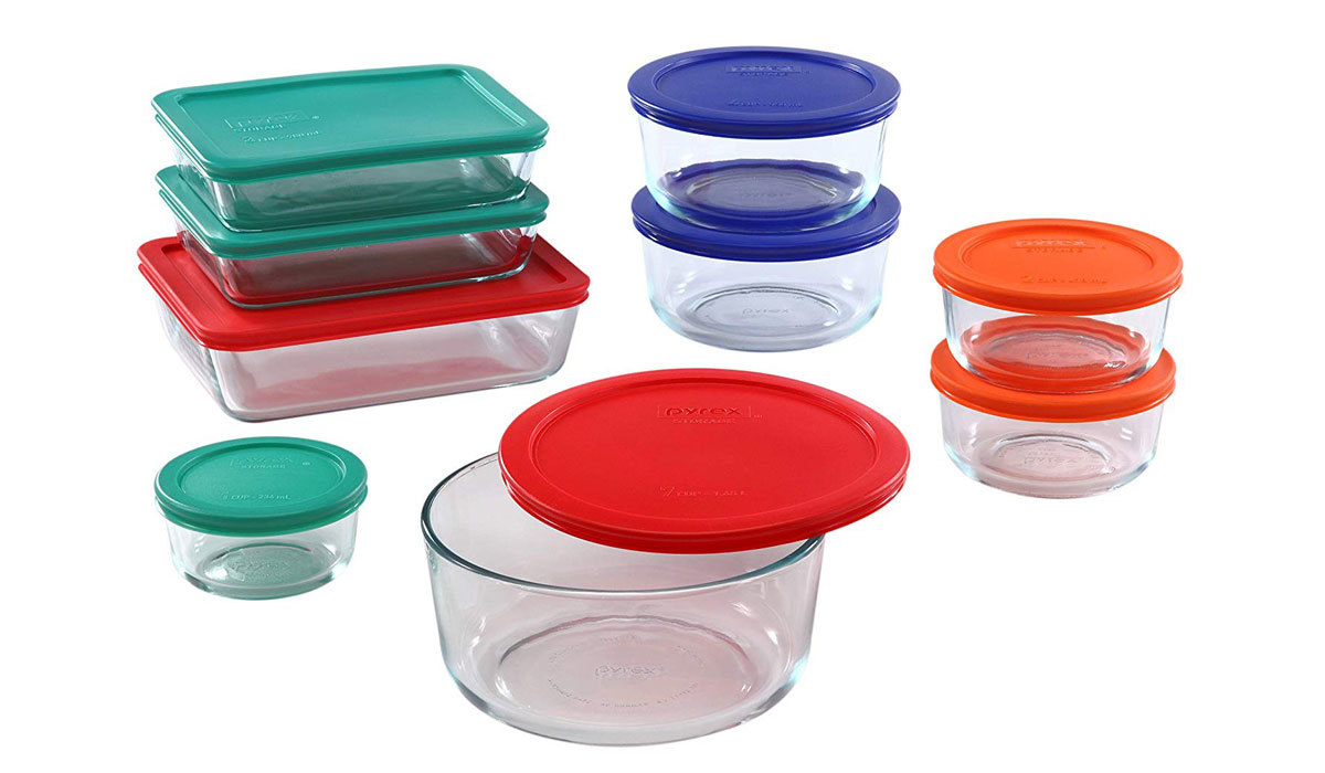 18-Piece of food containers from Amazon in a variety of sizes and shapes with colorful lids photo