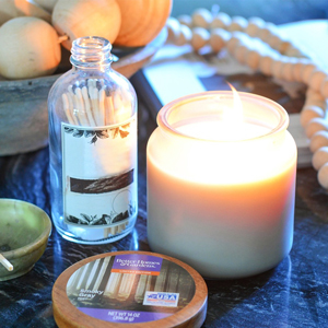 Frosted glass smoky gray mist candle photo