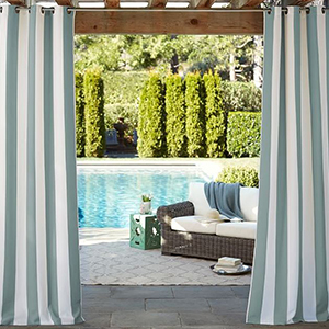 Blue and white striped outdoor drapes from Pottery Barn photo