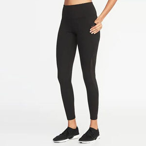 Black high-waist leggings with side pockets photo