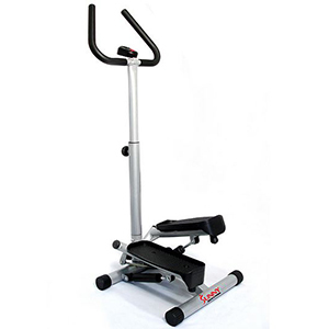 Black and silver exercise step machine with handles photo