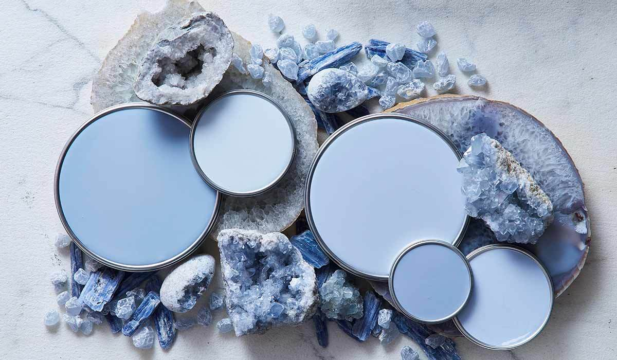Multiple colors of blue paint and crystals photo