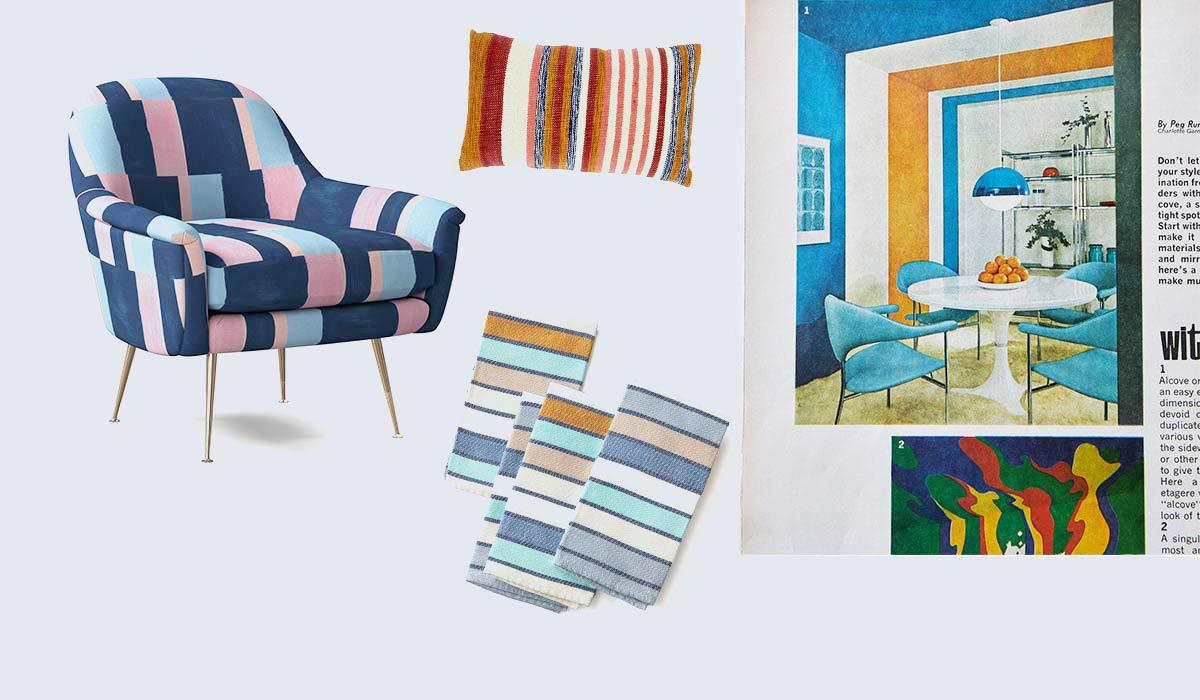 Color block chair, towels, pillow, and a vintage Better Homes & Gardens magazine photo
