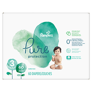 White and green box of Pampers pure protection diapers photo