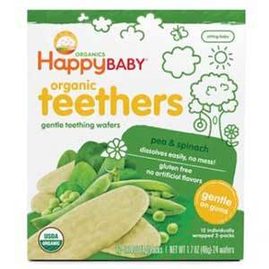 Happy Baby teether wafers, spinach and pea flavor photo