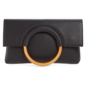 Faux leather circle clutch in black from Nordstrom photo