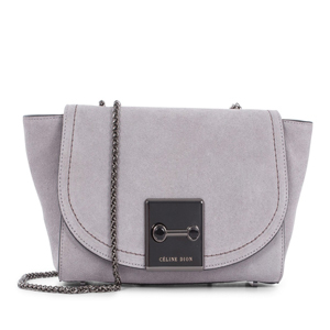 Celine Dion suede Baroque clutch handbag in gray from Macy's photo