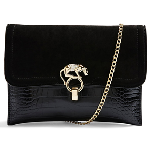 Topshop panther clutch in black with gold chain photo