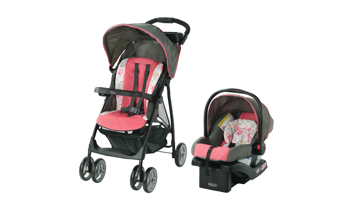 Graco LiteRider LX Travel System including a stroller and car seat in pink from Walmart photo