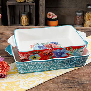 Blue and red Pioneer Woman Bakeware set photo