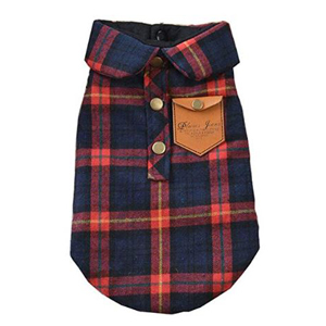 Plaid double-layer flannel shirt for pets photo