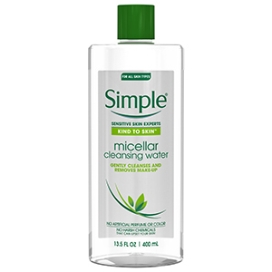 Clear and green bottle of Simple micellar water photo
