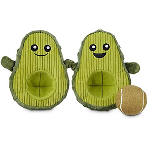 Two green avocado dog toys with tennis ball photo