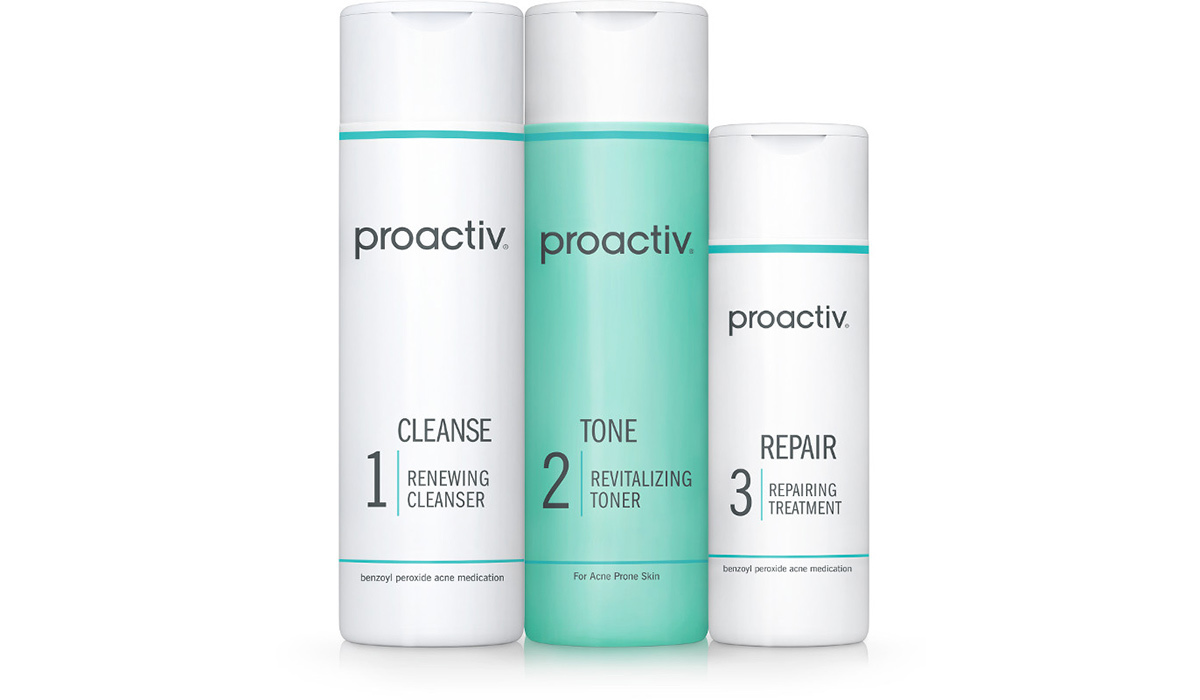 Three white and green tubes of Proactiv Solution photo